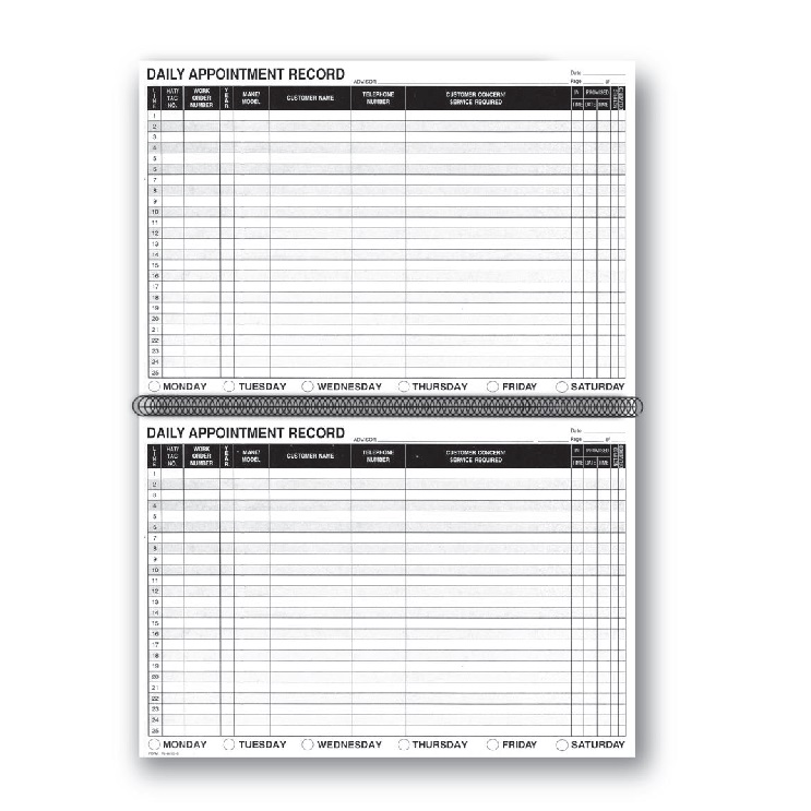 daily appointment record book auto tech niles marketing llc