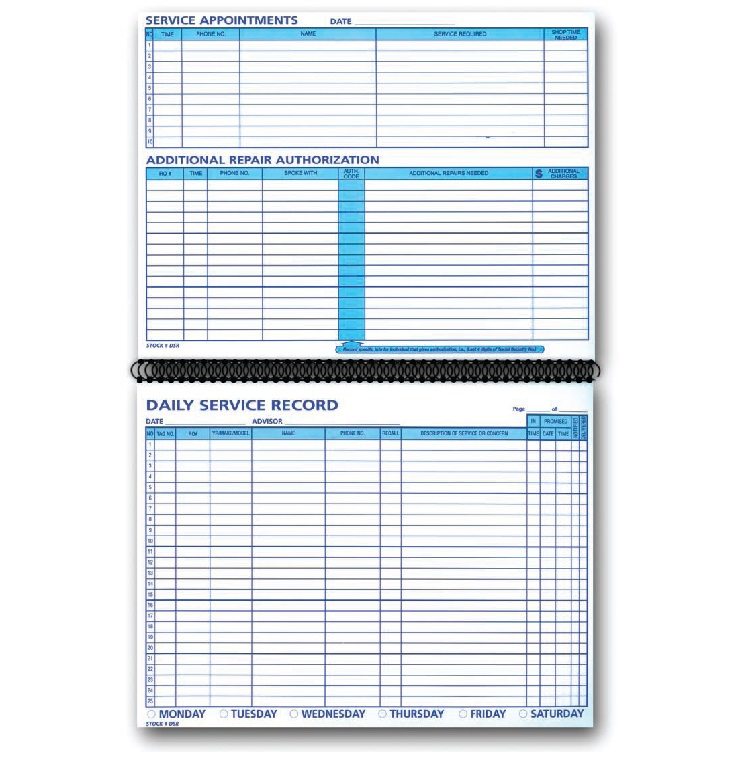 daily service record book auto tech niles marketing llc